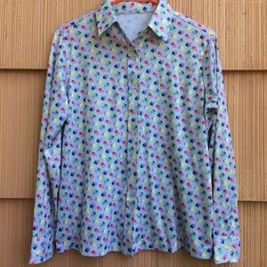 Super cute 1970s polyester floral blouse